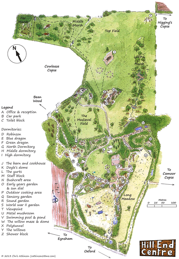 illustrated map of the site